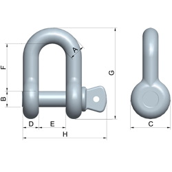 red pin dee shackle with screw collar pin