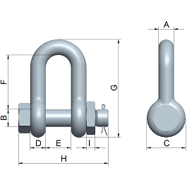red pin dee shackle with safety bolt